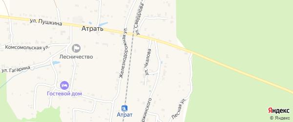 Улица Чкалова на карте поселка Атрать с номерами домов