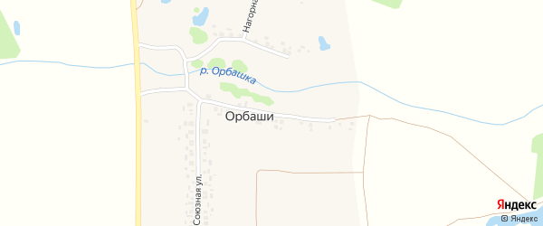 Набережная улица на карте деревни Орбаши с номерами домов