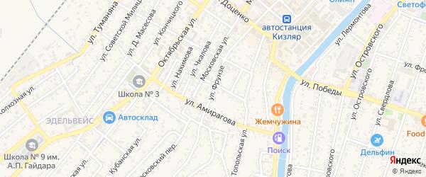 Улица Фрунзе на карте Кизляра с номерами домов
