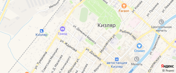 Улица Д.Бедного на карте Кизляра с номерами домов