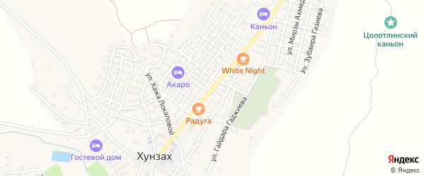 Улица Алиханова на карте села Хунзаха с номерами домов