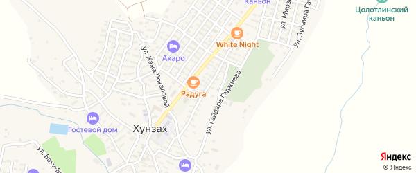 Улица Эльдарова на карте села Хунзаха с номерами домов