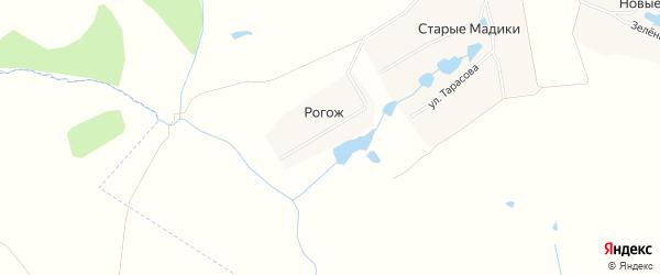 Карта деревни Рогожа в Чувашии с улицами и номерами домов
