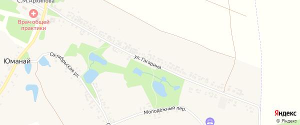 Улица Гагарина на карте села Юманая с номерами домов