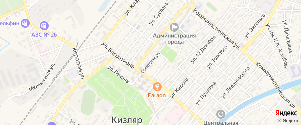 Советская улица на карте Кизляра с номерами домов
