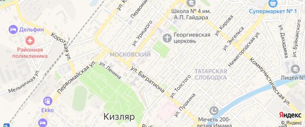 Тихий переулок на карте Кизляра с номерами домов