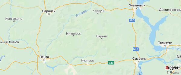Карта Базарносызганского района Ульяновской области с городами и населенными пунктами