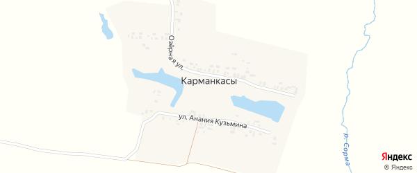 Улица Анания Кузьмина на карте деревни Карманкасы (Чуманкасинское с/п) с номерами домов