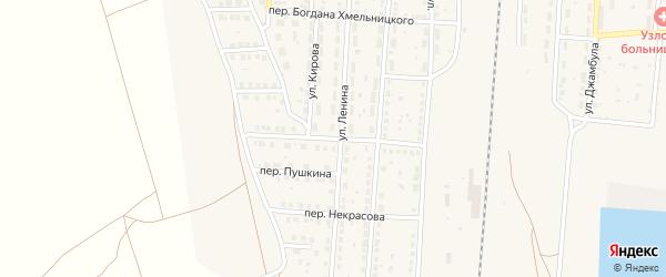 Локомотивный переулок на карте поселка Верхнего Баскунчака с номерами домов
