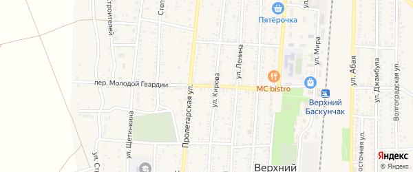 Переулок Молодой Гвардии на карте поселка Верхнего Баскунчака с номерами домов