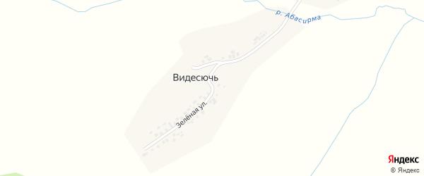 Зеленая улица на карте деревни Видесючь с номерами домов