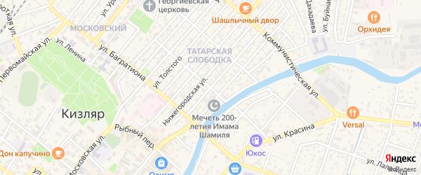 Улица 25 лет Октября на карте Кизляра с номерами домов