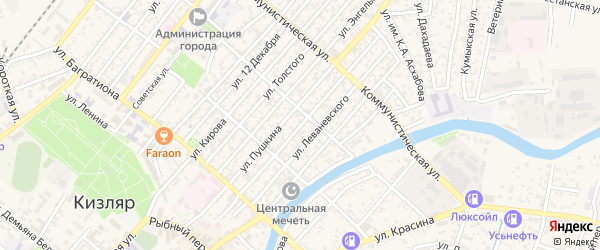 Нижегородская улица на карте Кизляра с номерами домов