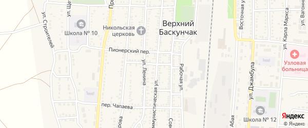 Деповской переулок на карте поселка Верхнего Баскунчака с номерами домов