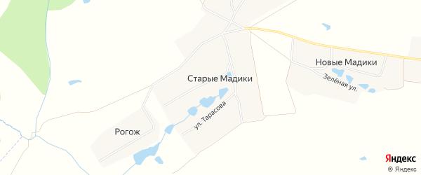 Карта деревни Старые Мадики в Чувашии с улицами и номерами домов