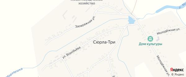 Улица Воробьева на карте деревни Сюрлы-Три с номерами домов