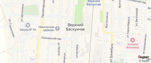 Карьерный проезд на карте поселка Верхнего Баскунчака с номерами домов