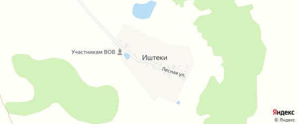 Лесная улица на карте деревни Иштеки с номерами домов