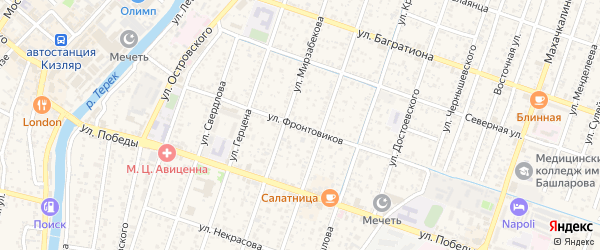 Улица Фронтовиков на карте Кизляра с номерами домов