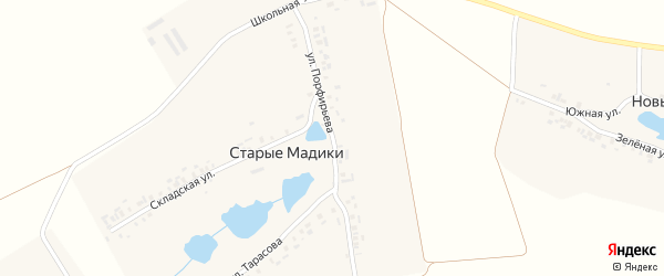 Улица Порфирьева на карте деревни Старые Мадики с номерами домов
