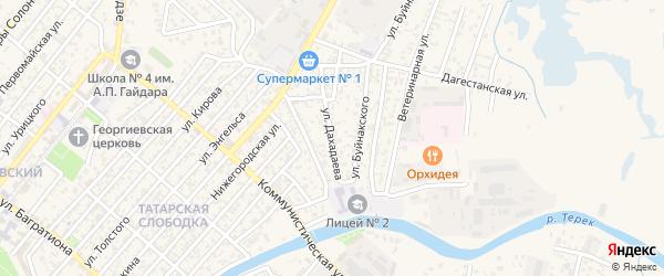 Улица Дахадаева на карте Кизляра с номерами домов