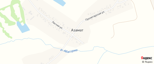 Пролетарская улица на карте деревни Азамата с номерами домов