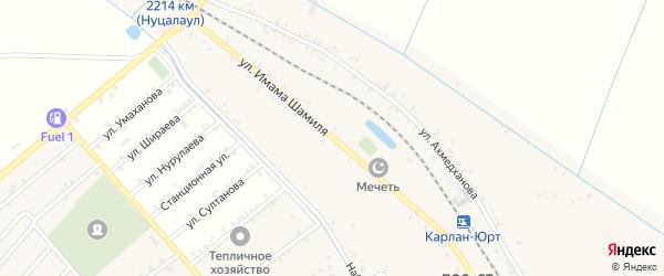Улица Шамиля на карте железнодорожной станции Карланюрта с номерами домов