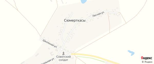 Водопроводная улица на карте деревни Сюмерткас с номерами домов