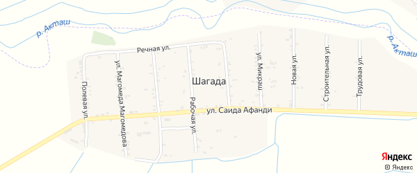 Рабочая улица на карте села Шагады с номерами домов