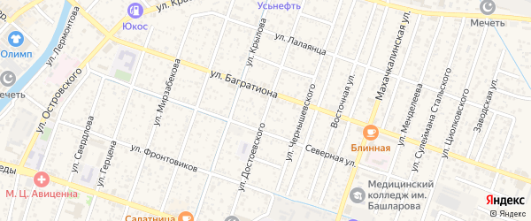 Улица Достоевского на карте Кизляра с номерами домов