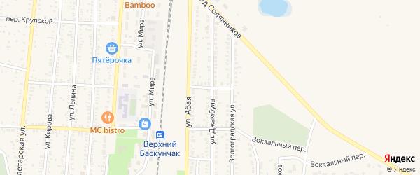 Железнодорожный переулок на карте поселка Верхнего Баскунчака с номерами домов