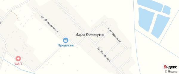 Восточный переулок на карте села Зари Коммуны с номерами домов