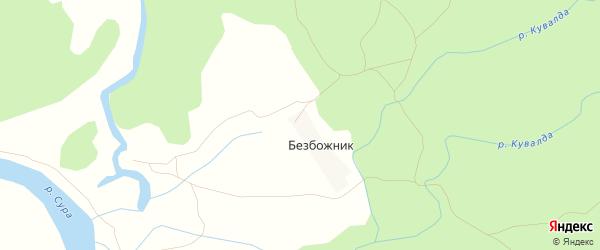 Карта поселка Безбожника в Чувашии с улицами и номерами домов