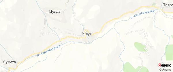 Карта села Утлуха в Дагестане с улицами и номерами домов