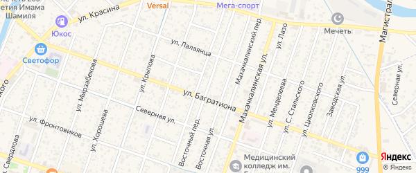 Восточный переулок на карте Кизляра с номерами домов