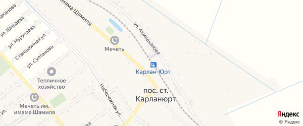 Станционная улица на карте железнодорожной станции Карланюрта с номерами домов