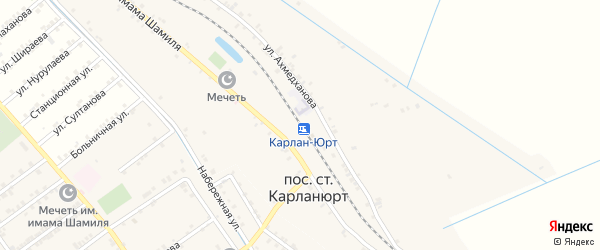 Улица Абасова на карте железнодорожной станции Карланюрта с номерами домов