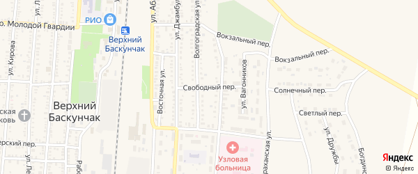 Свободный переулок на карте поселка Верхнего Баскунчака с номерами домов