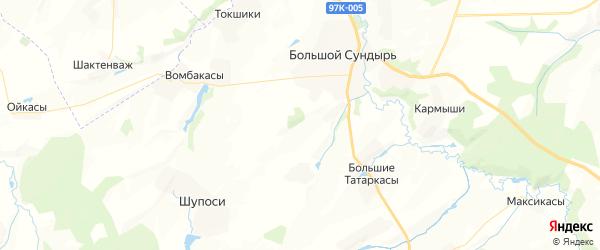 Карта Большесундырского сельского поселения республики Чувашия с районами, улицами и номерами домов