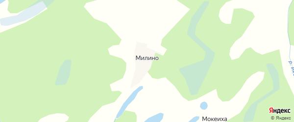 Карта деревни Милино в Архангельской области с улицами и номерами домов