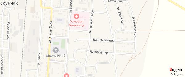 Школьный переулок на карте поселка Верхнего Баскунчака с номерами домов