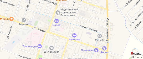 Улица Циолковского на карте Кизляра с номерами домов
