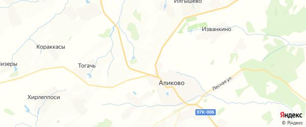 Карта Яндобинского сельского поселения республики Чувашия с районами, улицами и номерами домов