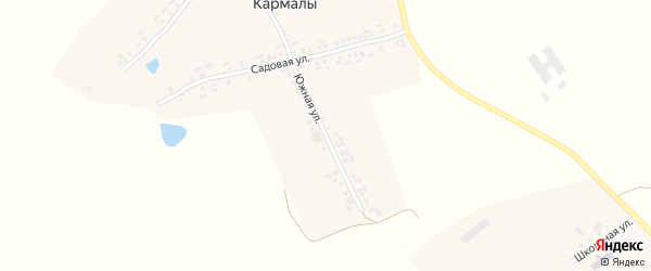 Южная улица на карте деревни Кармалы с номерами домов