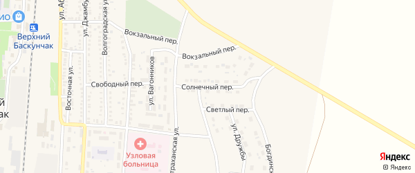 Солнечный переулок на карте поселка Верхнего Баскунчака с номерами домов