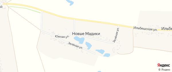 Зеленая улица на карте деревни Новые Мадики с номерами домов