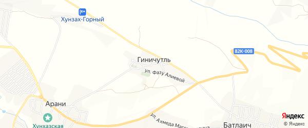 Карта села Геничутля в Дагестане с улицами и номерами домов