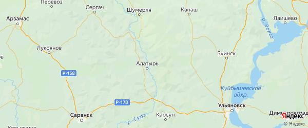 Карта Алатырского района республики Чувашия с городами и населенными пунктами