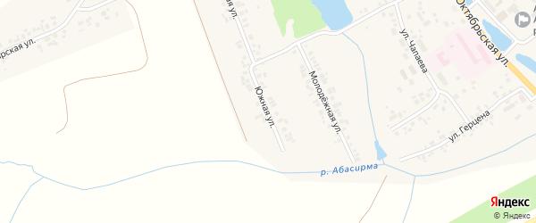 Южная улица на карте села Аликово с номерами домов
