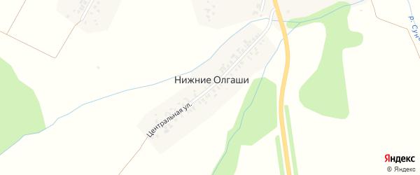 Центральная улица на карте деревни Нижние Олгаши с номерами домов